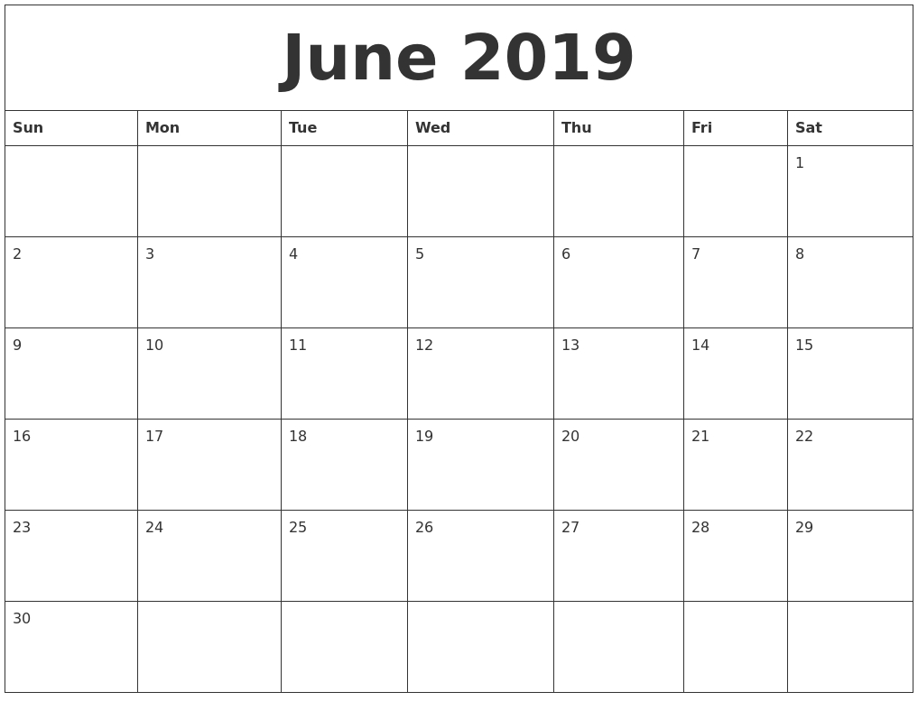 June 2019 Blank Monthly Calendar Template  Printable Editable Monthly Calendar Template