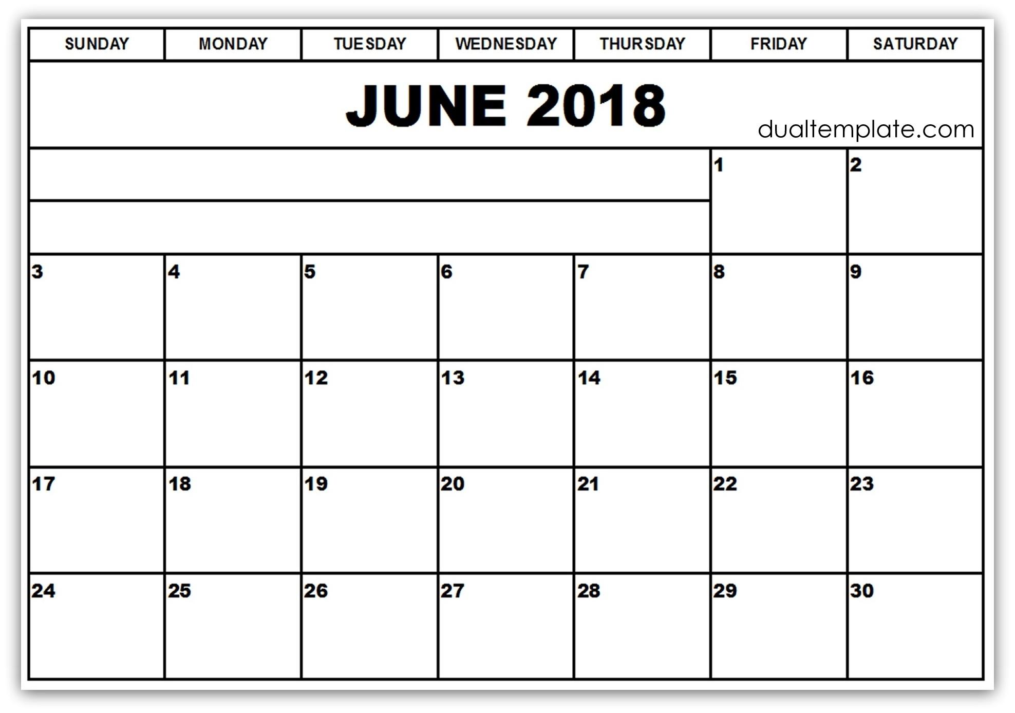 June Calendar 2018 With Holidays June 2018 Blank Calendar Printable  June And July Calendar Printable