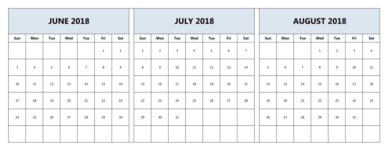 June, July, And August 2018 Calendar | June 2018 Calendar  June And July Calendar Month
