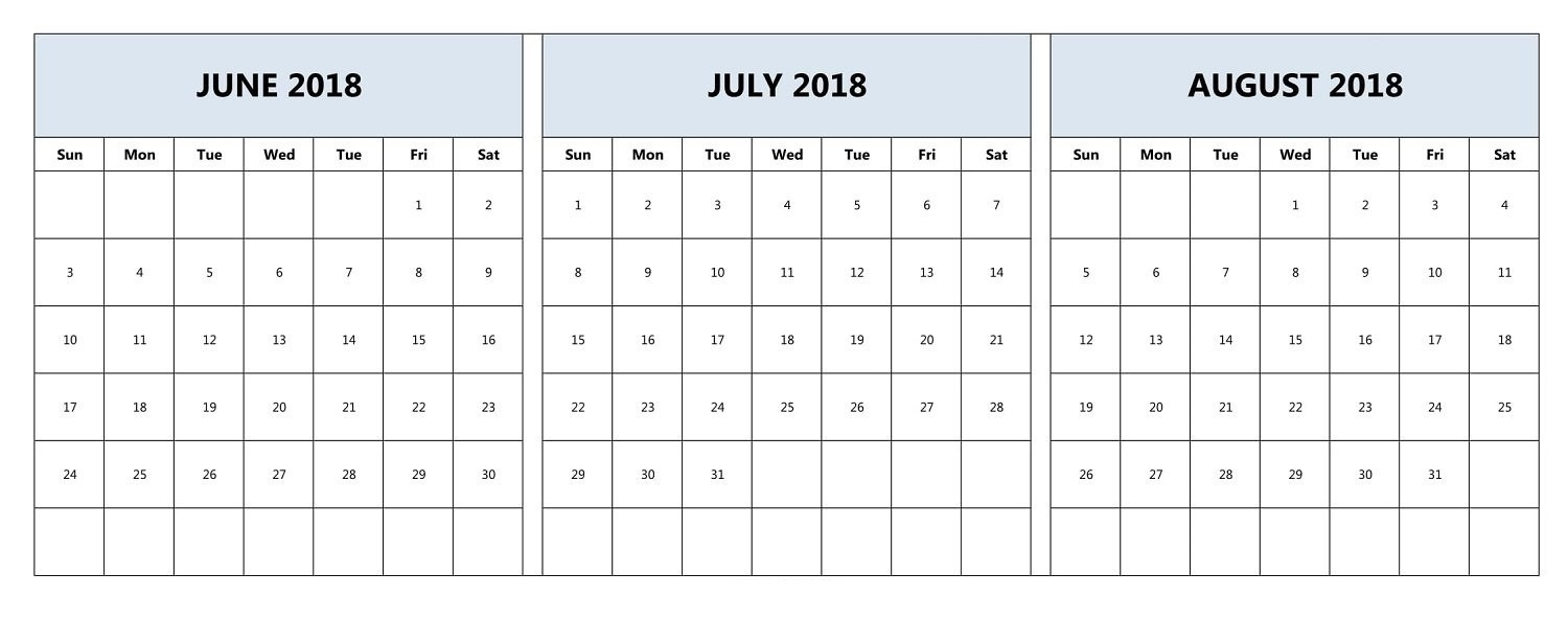 June, July, And August 2018 Calendar | June 2018 Calendar  June And July Printable Calendars