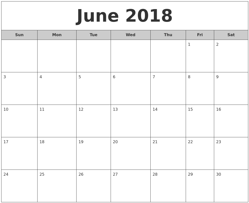 June Monthly Calendar For 2018 – Daily Calendar 2018 Printable  June And July Calendar Printable