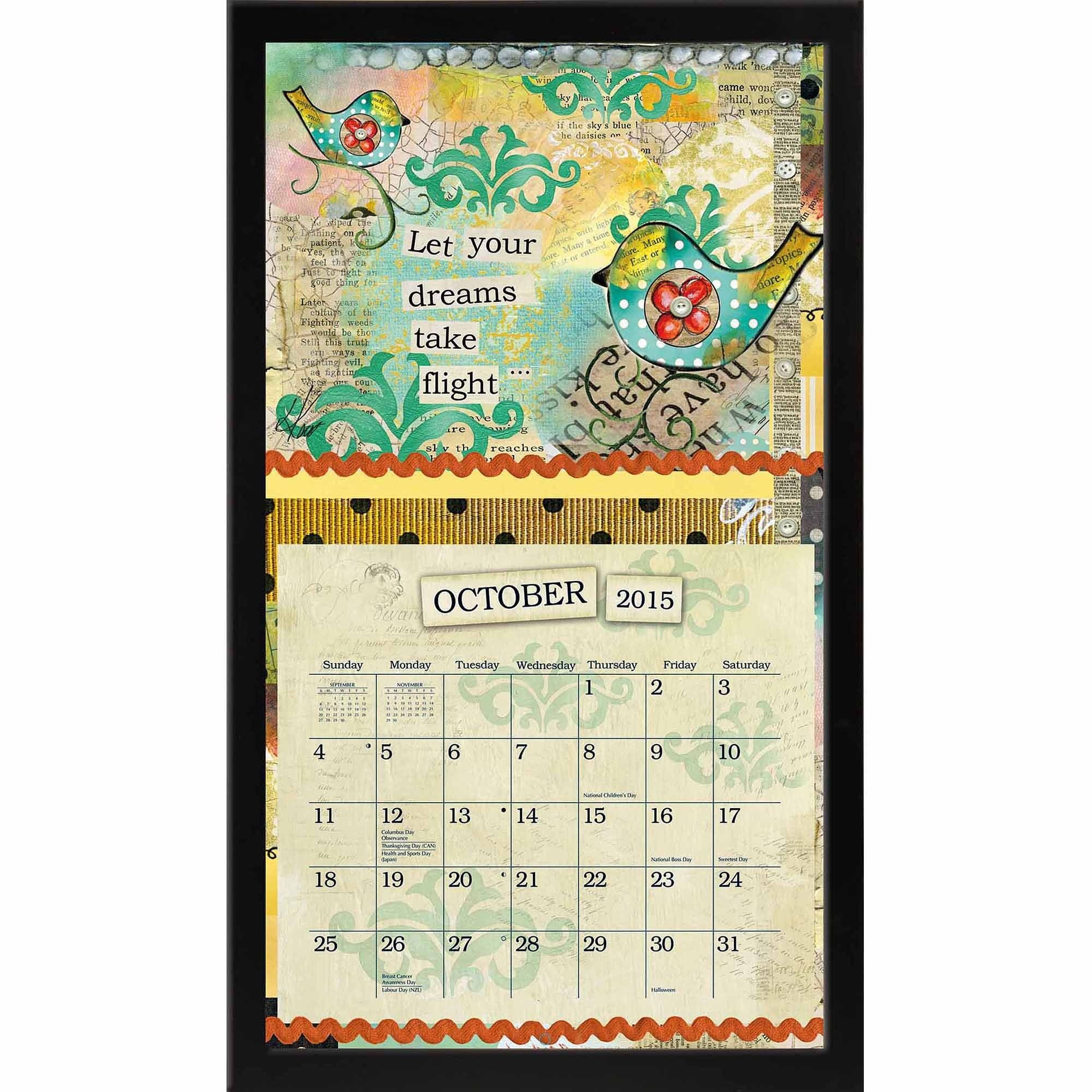 "Lang ""black Contemporary"" Calendar Frame - Walmart  Wall Calendar Frames And Holders"