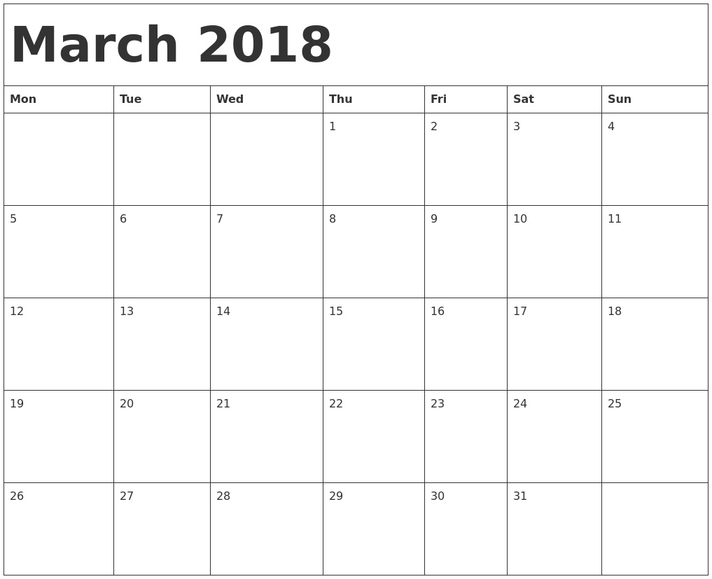 March 2018 Calendar Word | Calendar Month Printable  Blank Monthly Calendar Monday Start