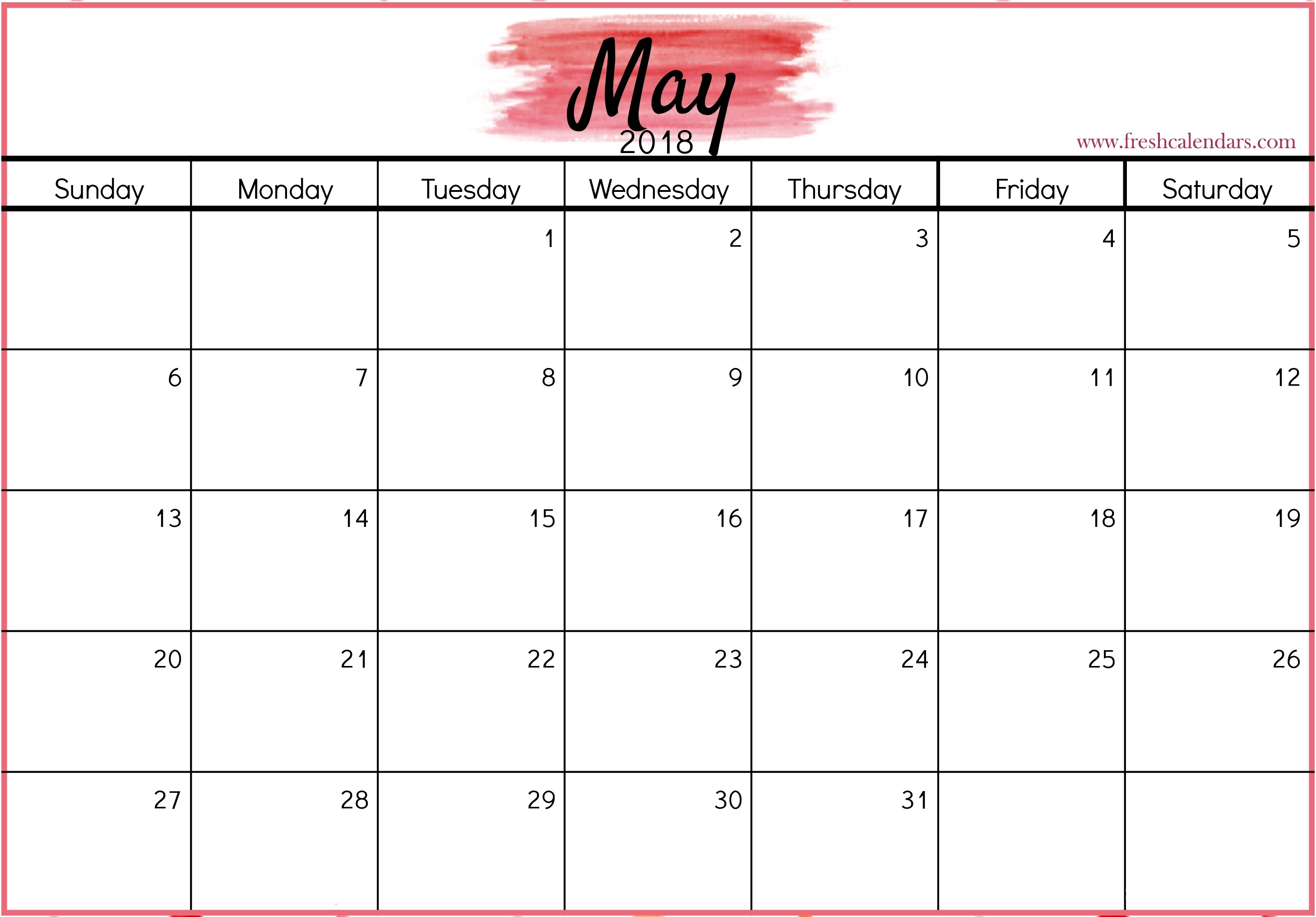 May 2018 Calendar Printable Templates  Monthly Calendars To Print Colorful