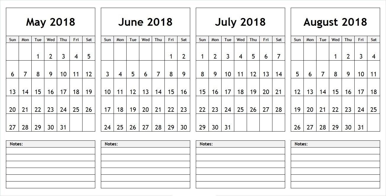 May June 2018 Calendar Printable Template Arresting Four Month  Blank Four Month Calendar Template