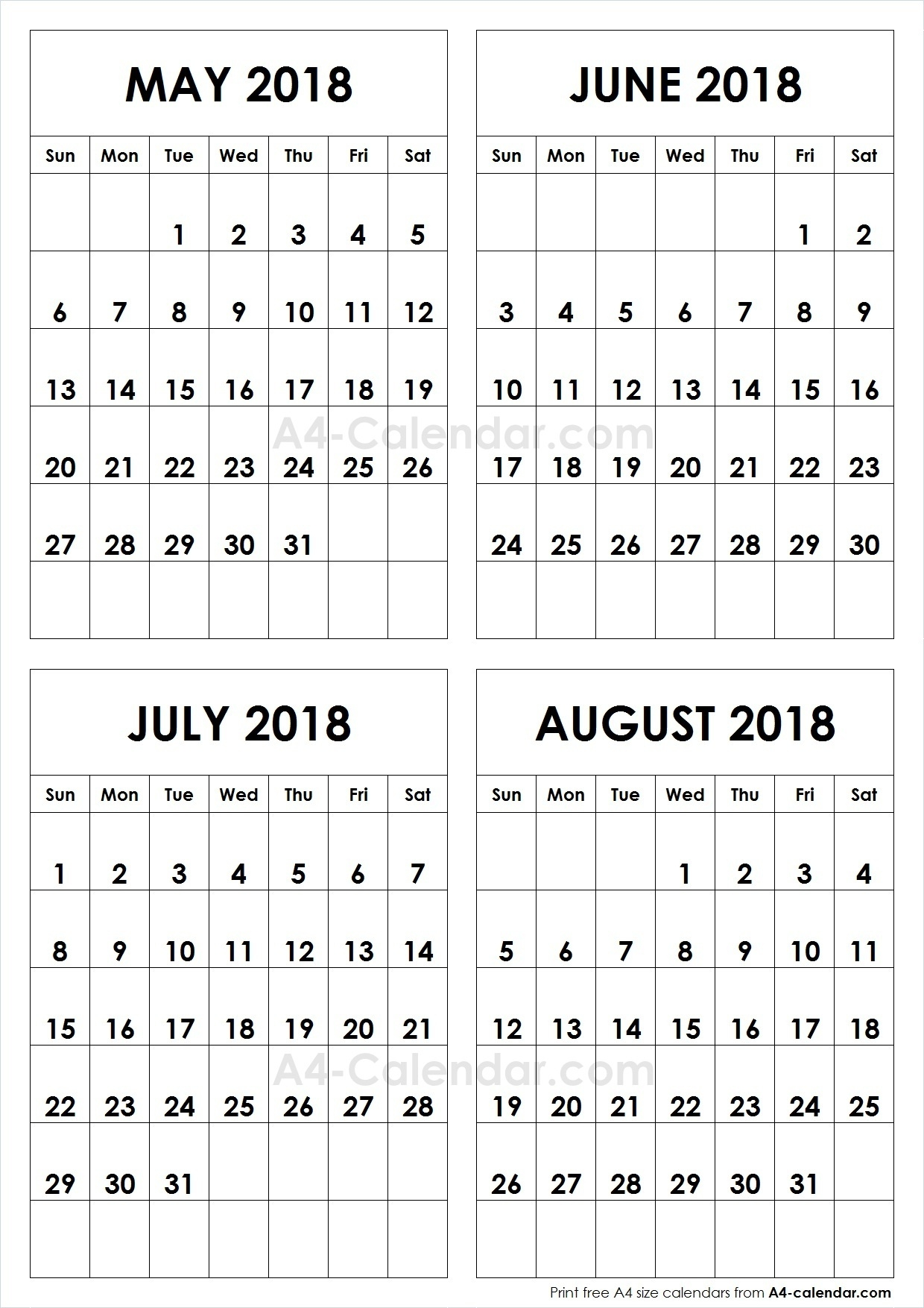May June July August 2018 A4 Calendar | 4 Month Calendar Template  Print Month Of June And July