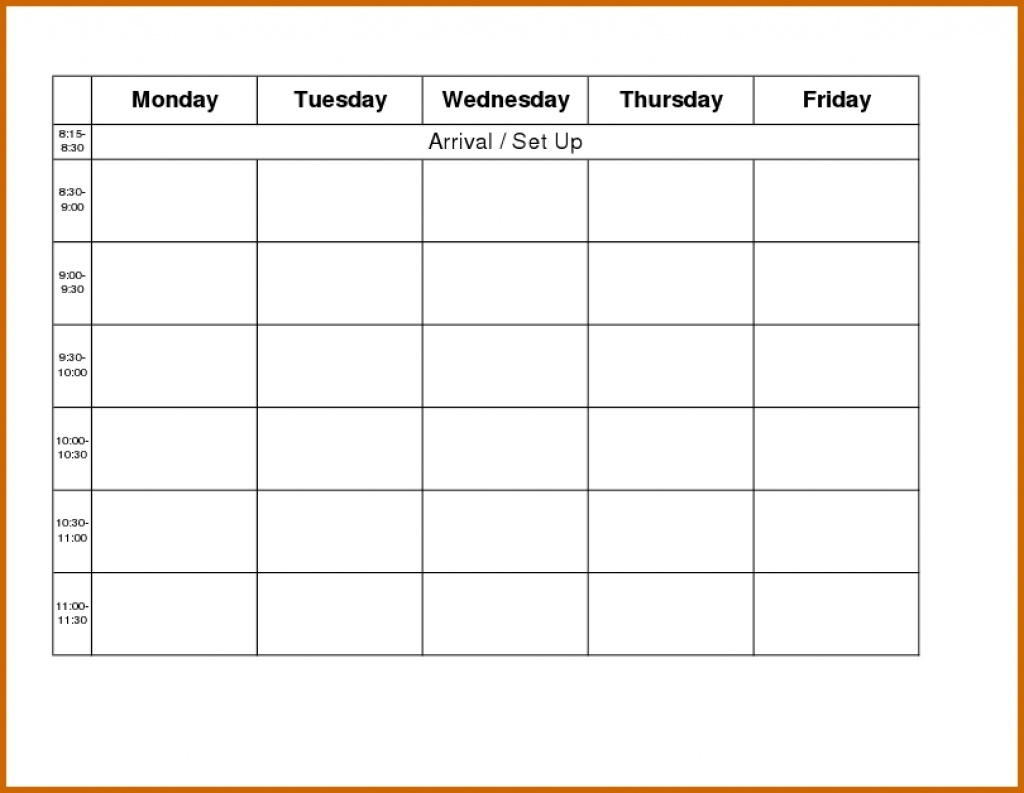 Monday Through Friday Calendar Template Word - Yeniscale.co  Monday Through Friday Blank Calendar Template