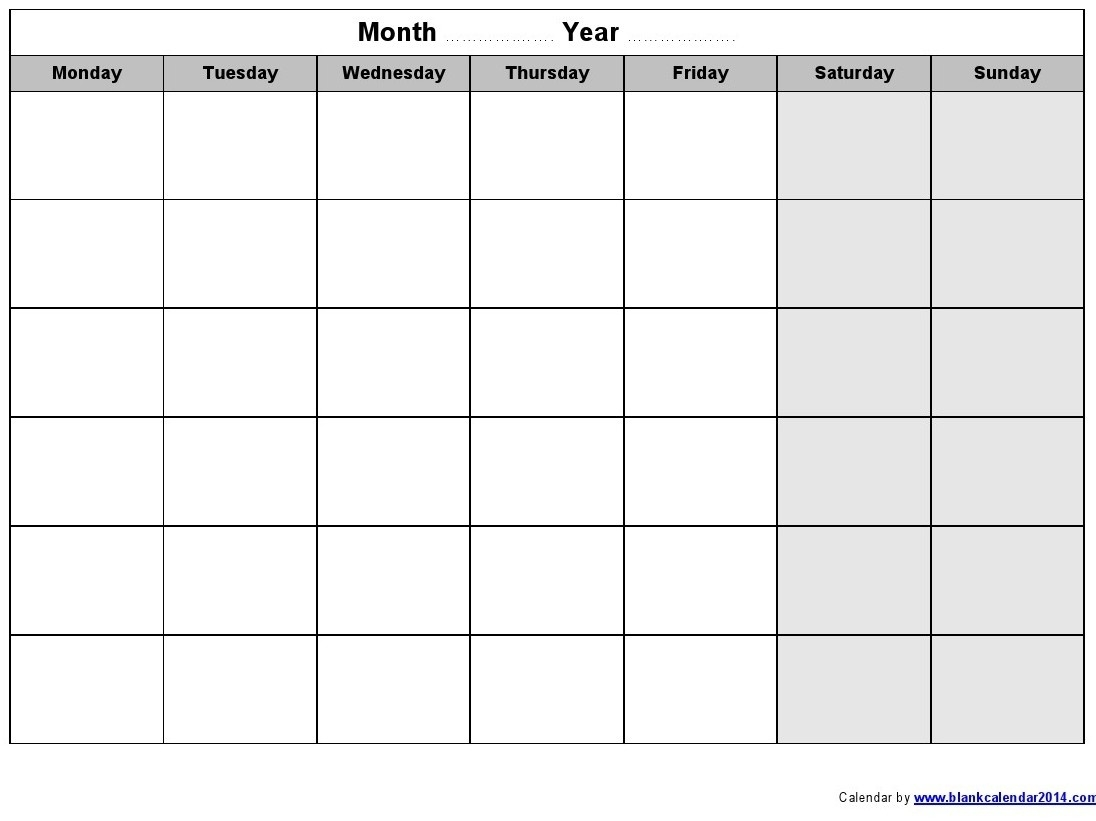 Monday Through Friday Printable Calendar - Yeniscale.co  Monthly Calendar Templates Monday To Friday