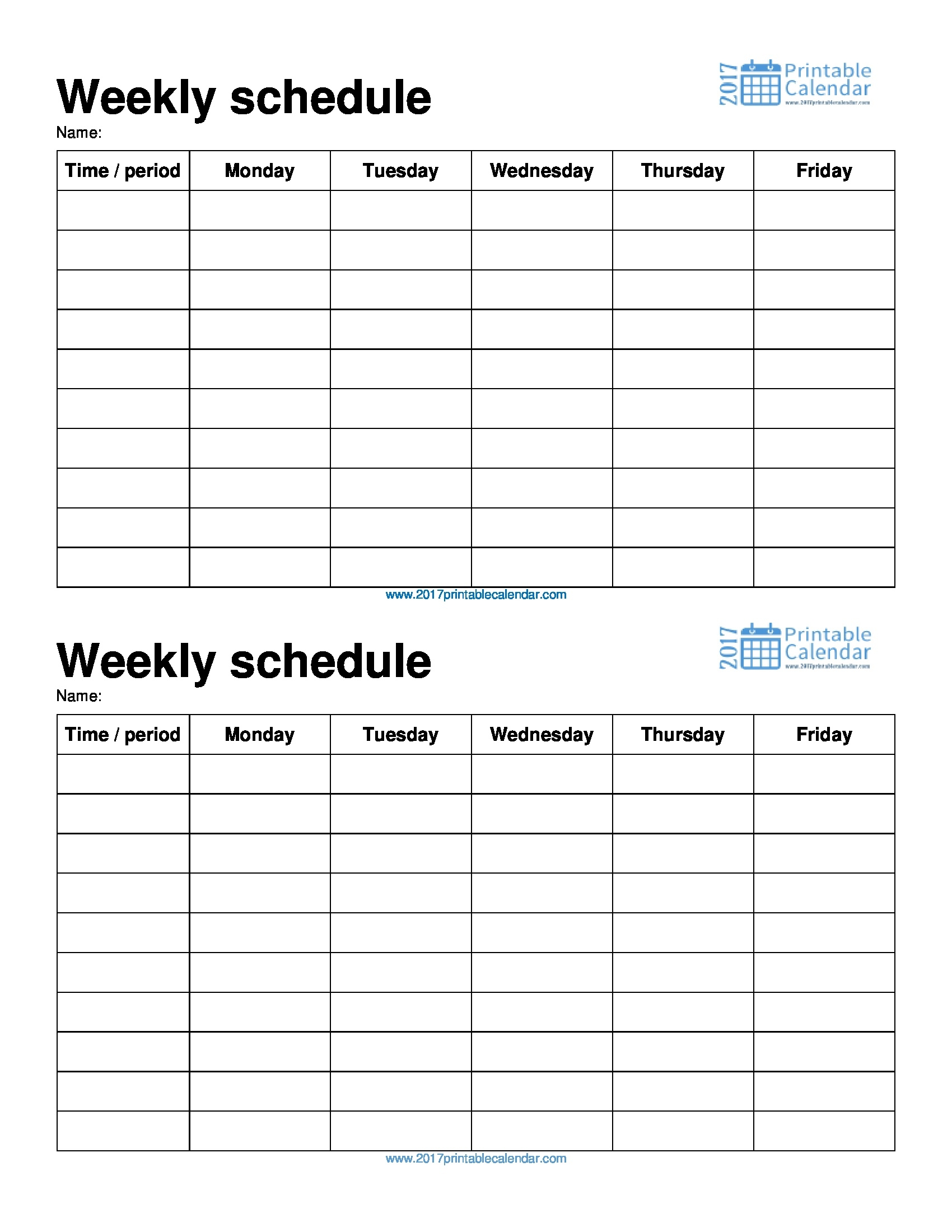 Monday Through Friday Printable Weekly Schedule - Yeniscale.co  Monday Though Friday Timed Schedule