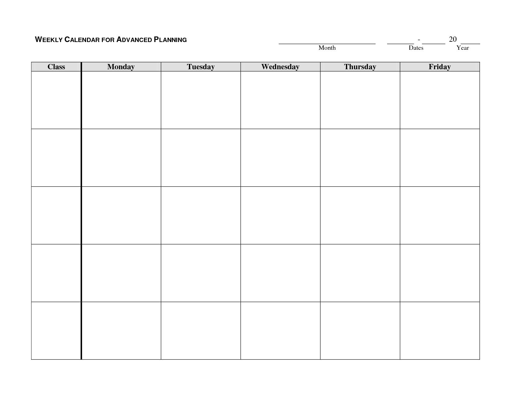Monday Through Friday Printable Weekly Schedule - Yeniscale.co  Printable Weekly Calendar Monday Through Friday