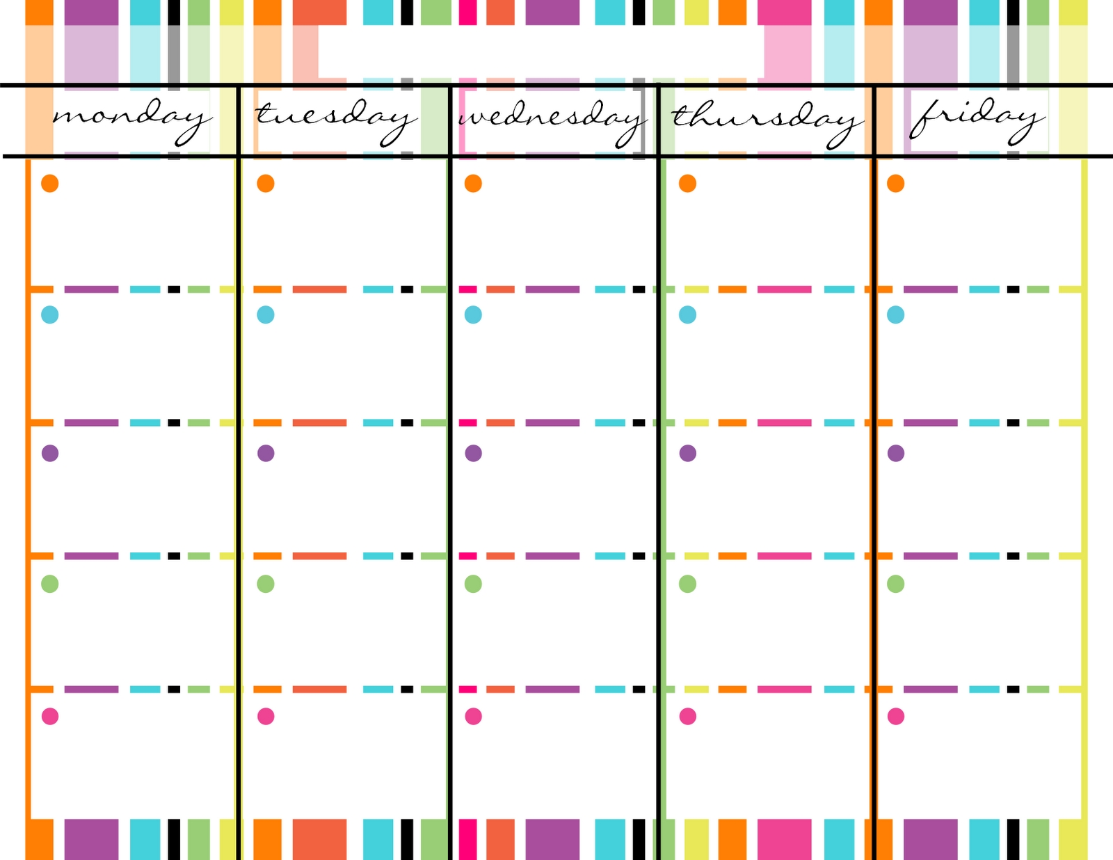 Monday Through Friday Schedule Template Free | Calendar 2018 Design  Printable Weekly Calendar Monday Through Friday