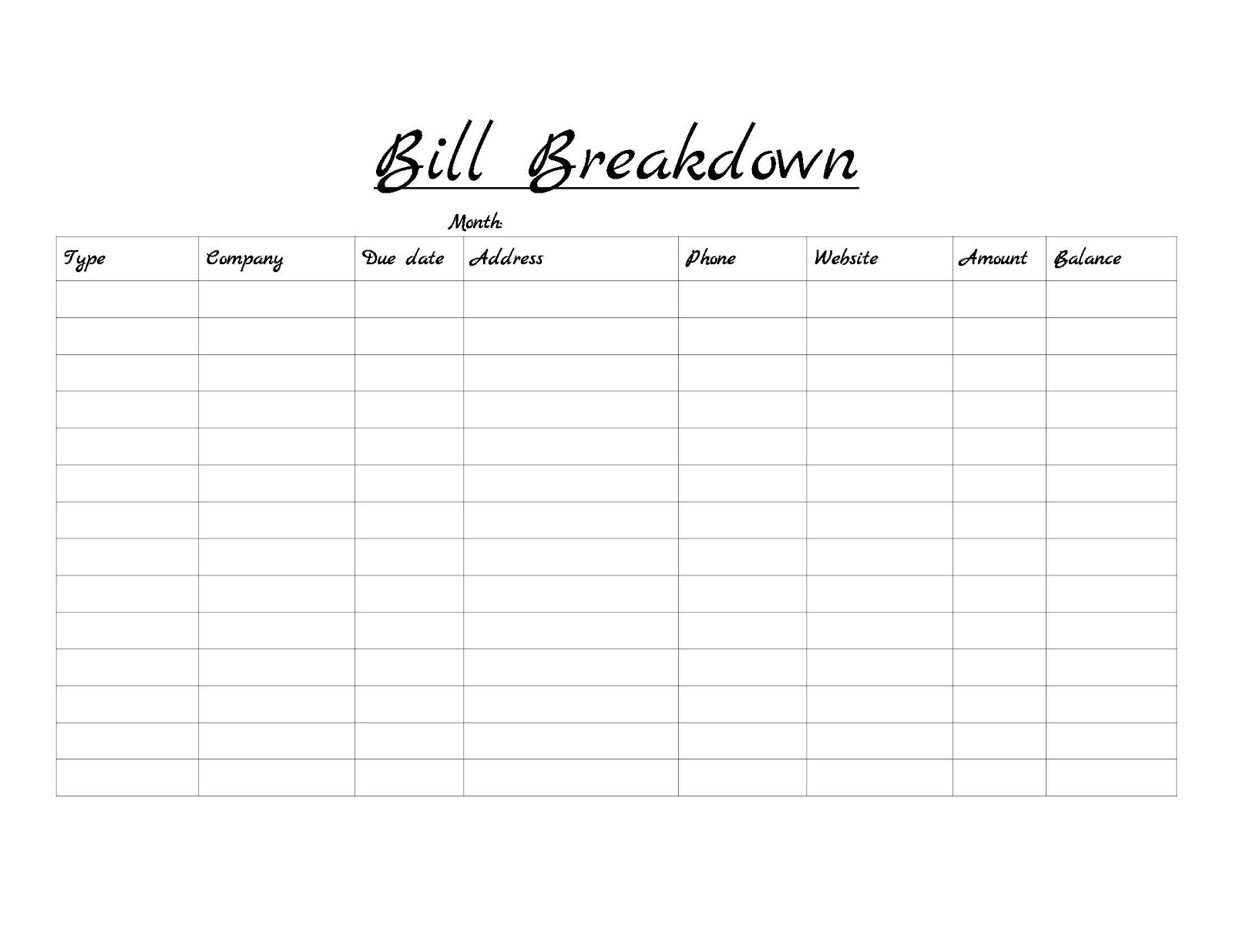 Monthly Bill Log Template  Free Printable Monthly Household Bills Due Form