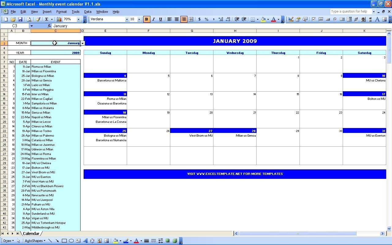 Monthly Event Calendar | Excel Templates  Template For An Event Calendar