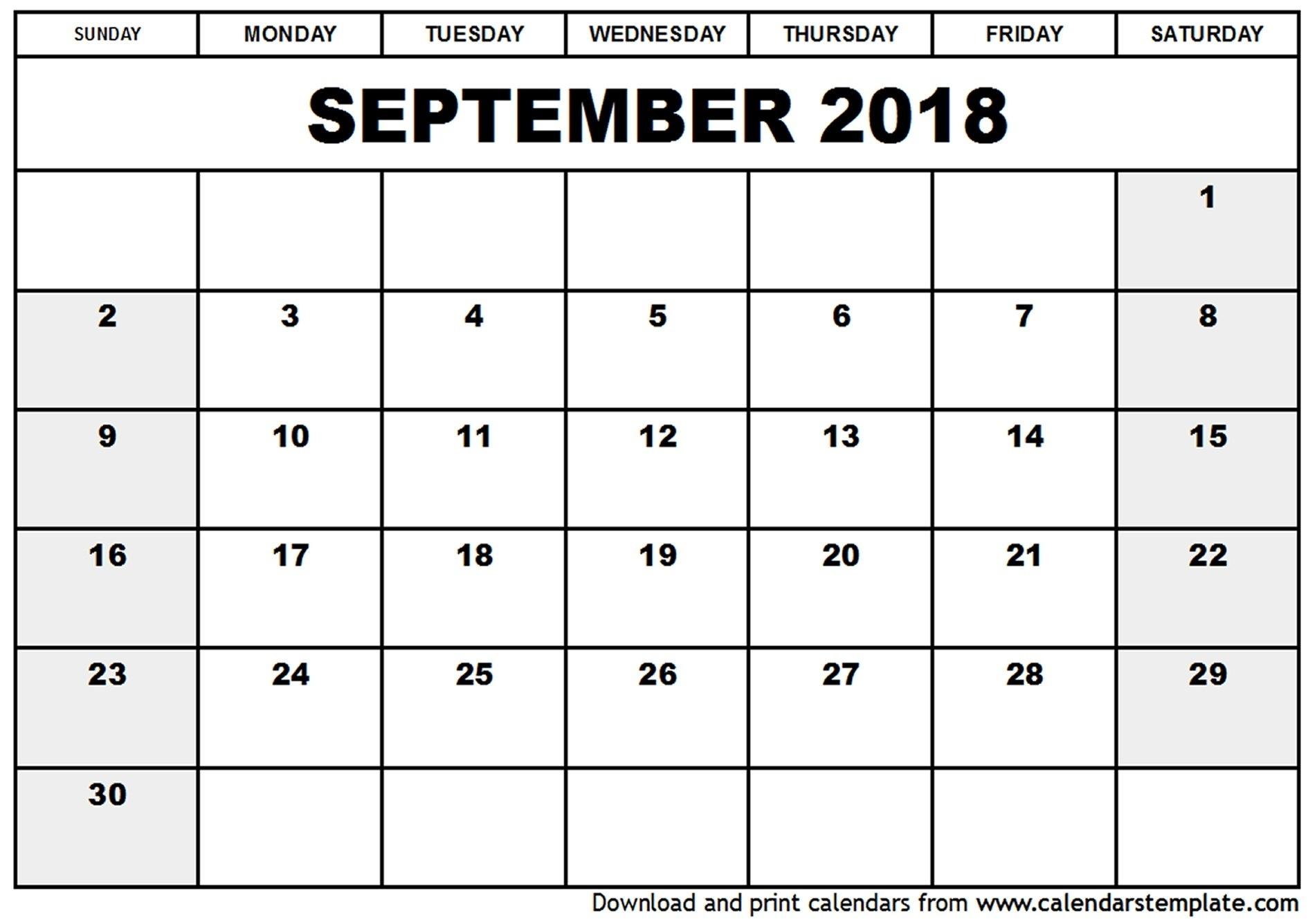Monthly Planner Template September 2018 | Listmachinepro  Calendar For Month Of September