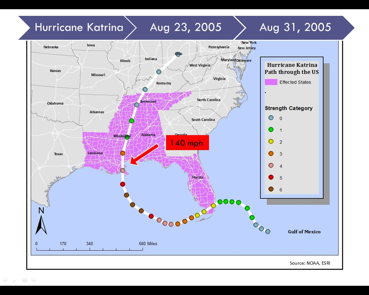 Ms.watts Project On Emaze  Map Of Area Affected By Hurricane Katrina
