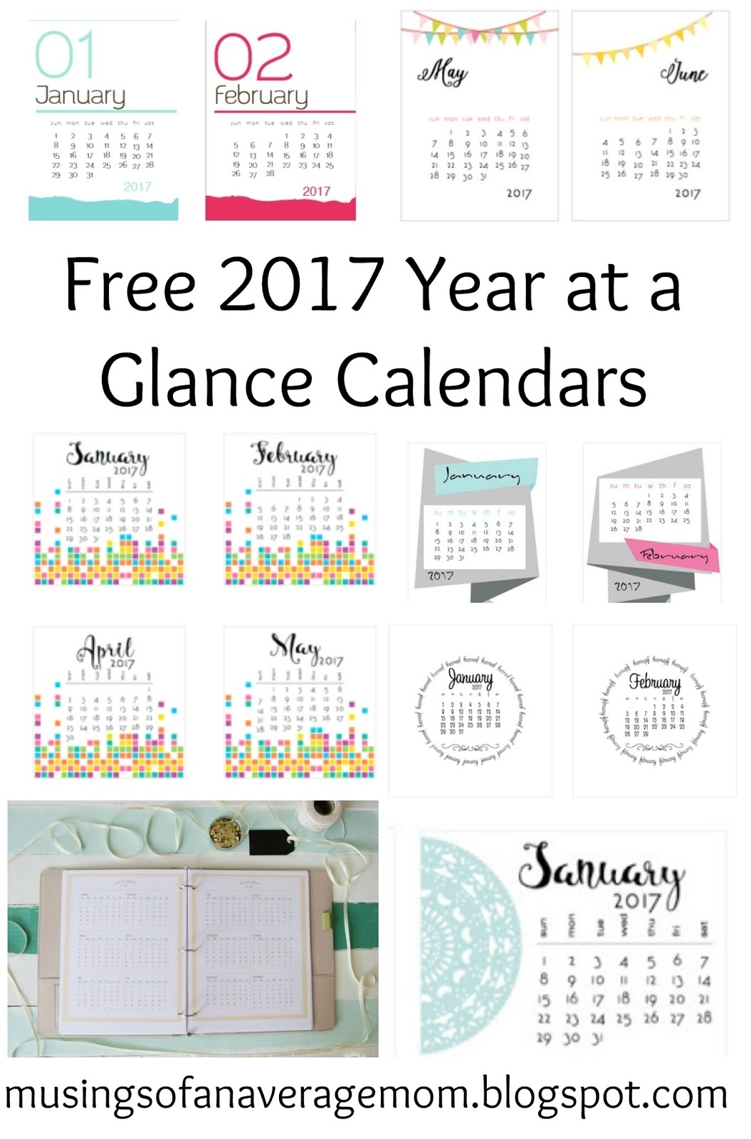 Musings Of An Average Mom: 2017 Year At A Glance Calendars  Year At A Glance Calendar Simple Design