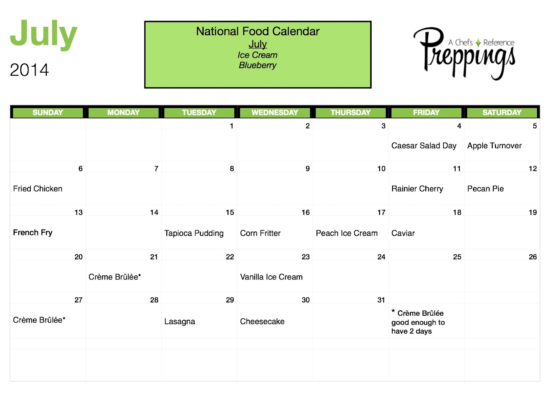 National Food Days Archives - Page 3 Of 3 - Preppings  July National Food Day Calendar