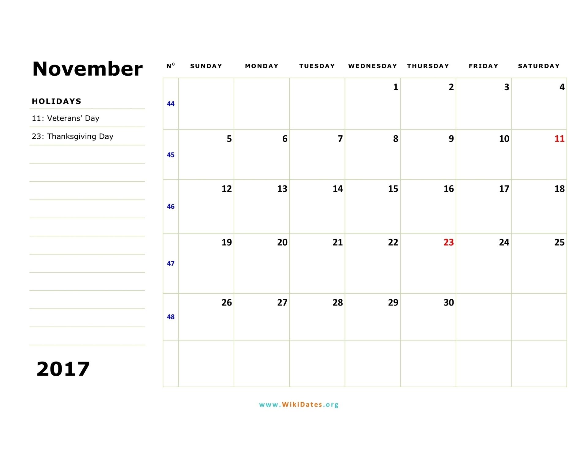 November 2017 Calendar | Wikidates  Weekly Calandar Template Starting Monday