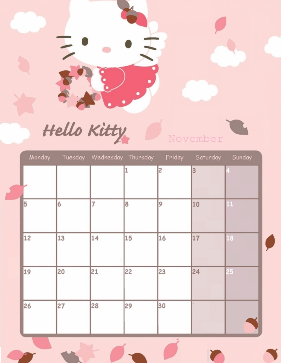 November 2018 Calendar | Latest Calendar  Sanrio A6 Monthly Planner Print
