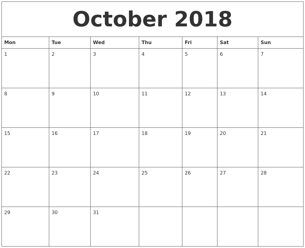 October 2018 Monthly Printable Calendar  Blank Calendar For A Month