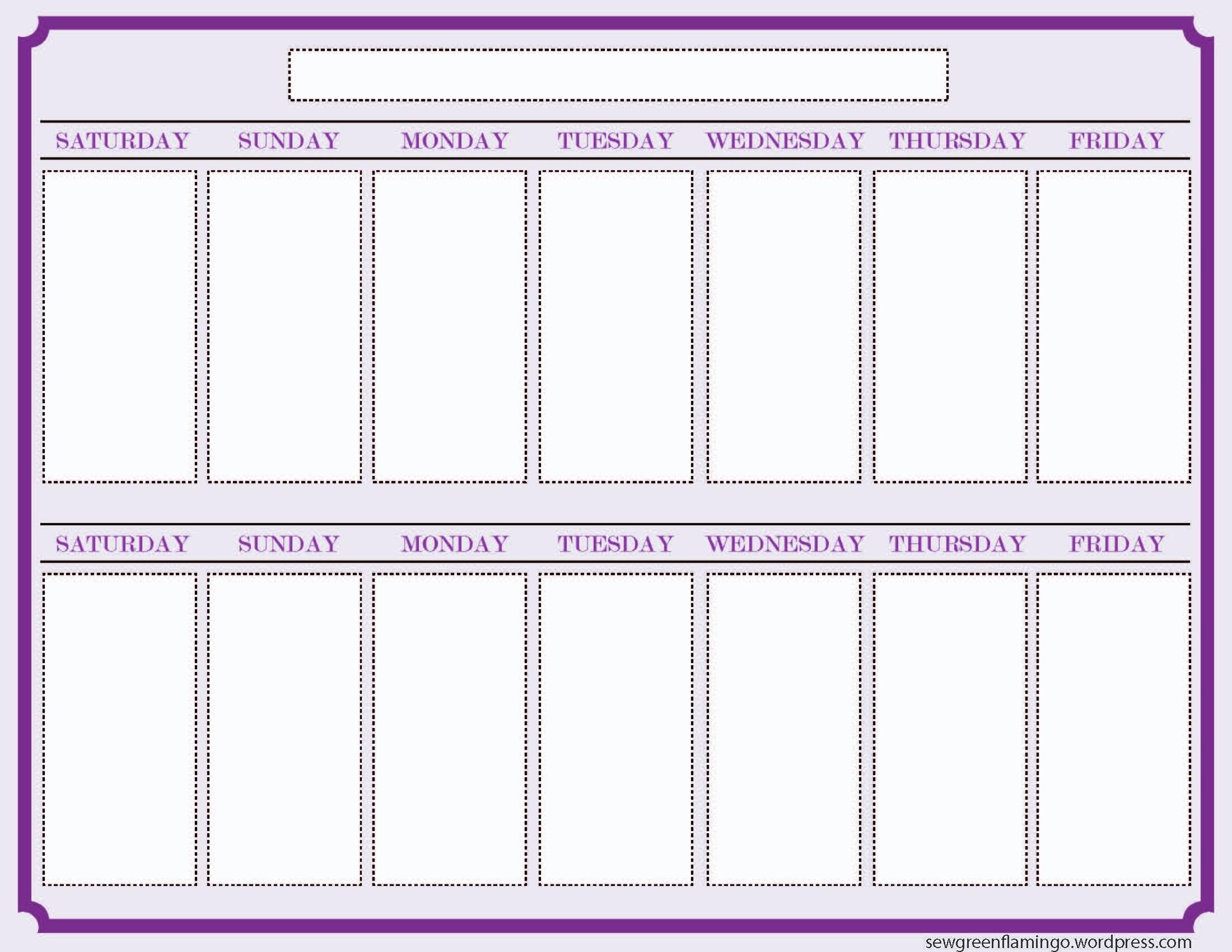 One Week Calendar Template - Art-Student  One Week Calendar Template Printable