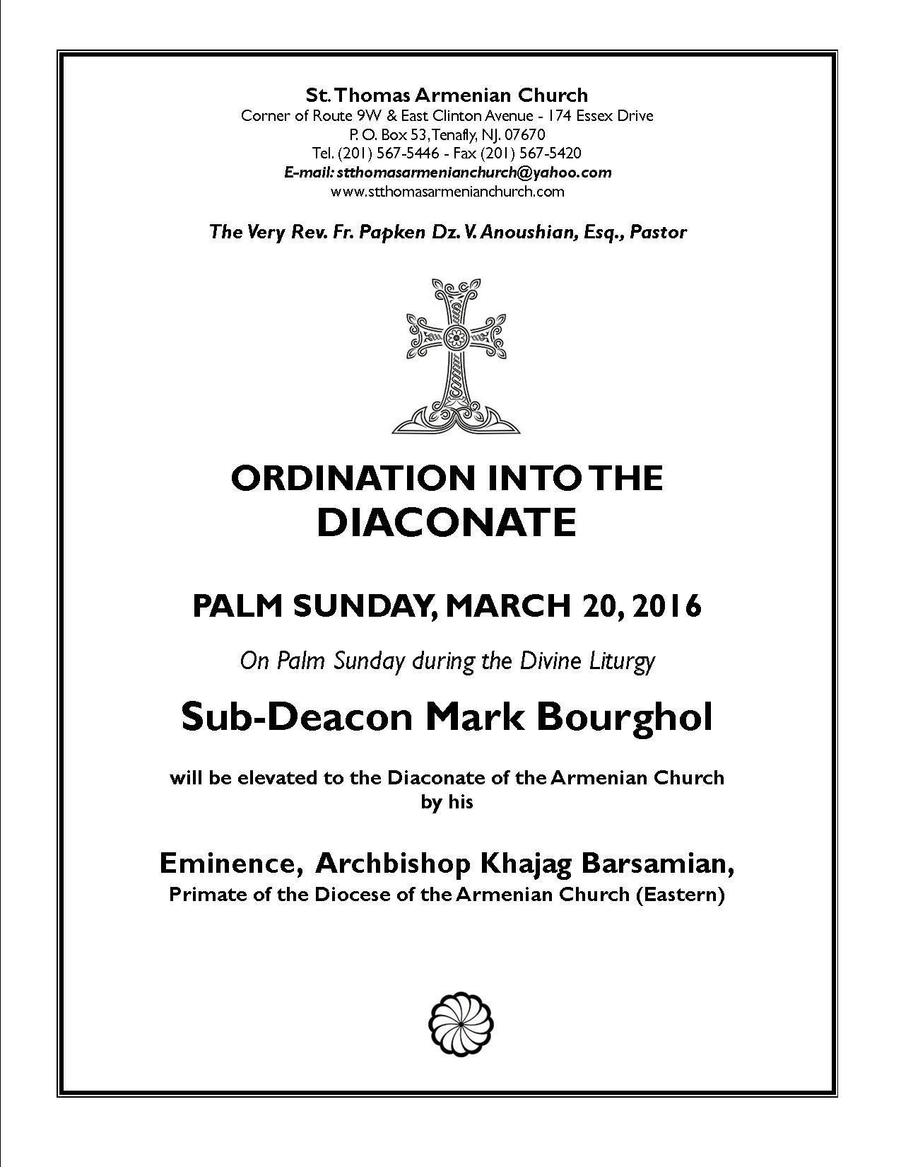 Ordination To The Deaconite – St. Thomas Armenian Apostolic Church  Calendar Of Feast Days And Holy Days Of The Armenian Church