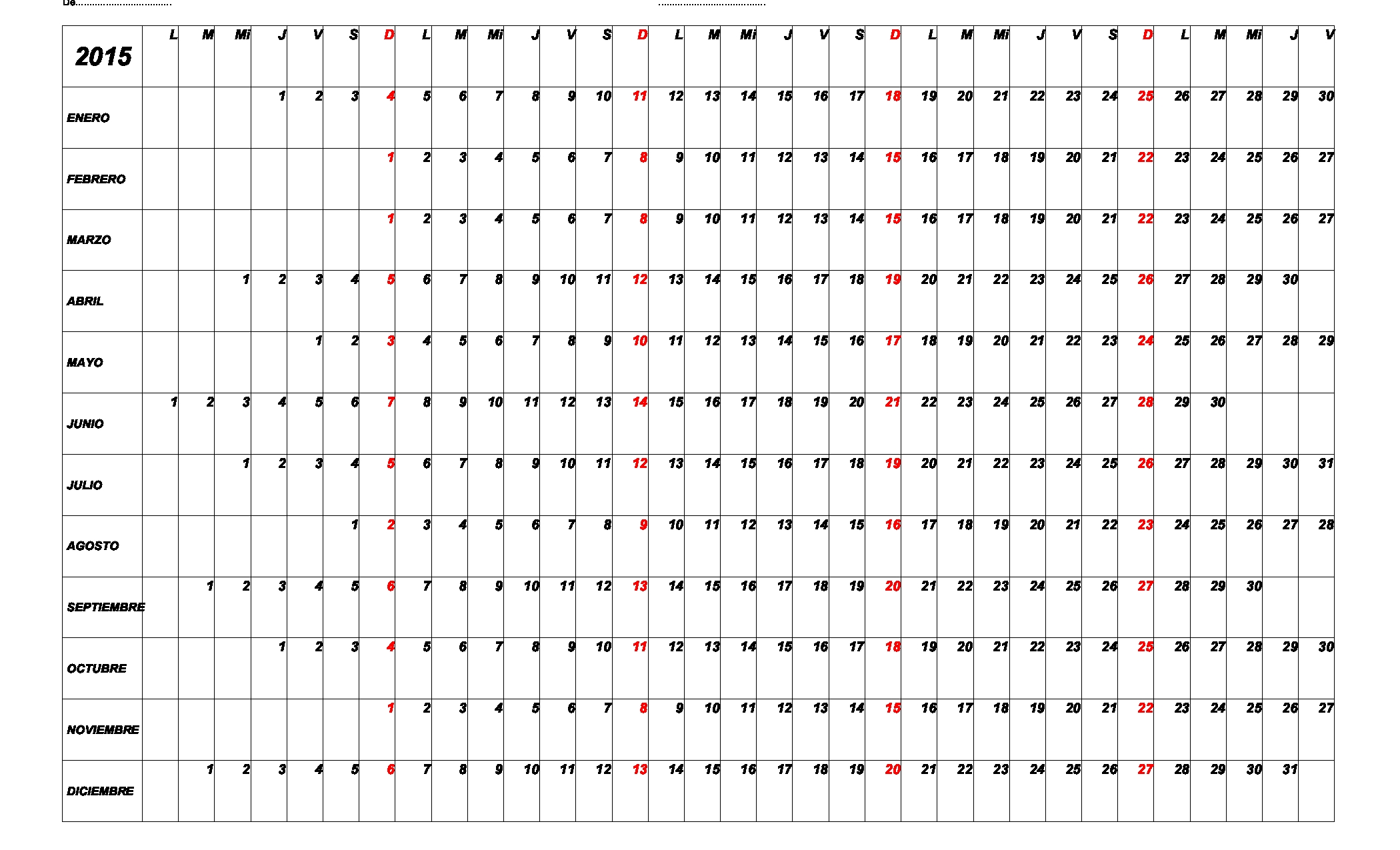Otro Calendario 2015 « Para Jefaturas Regionales Y Distritales  Calendario 2015 Para Imprimir Pdf