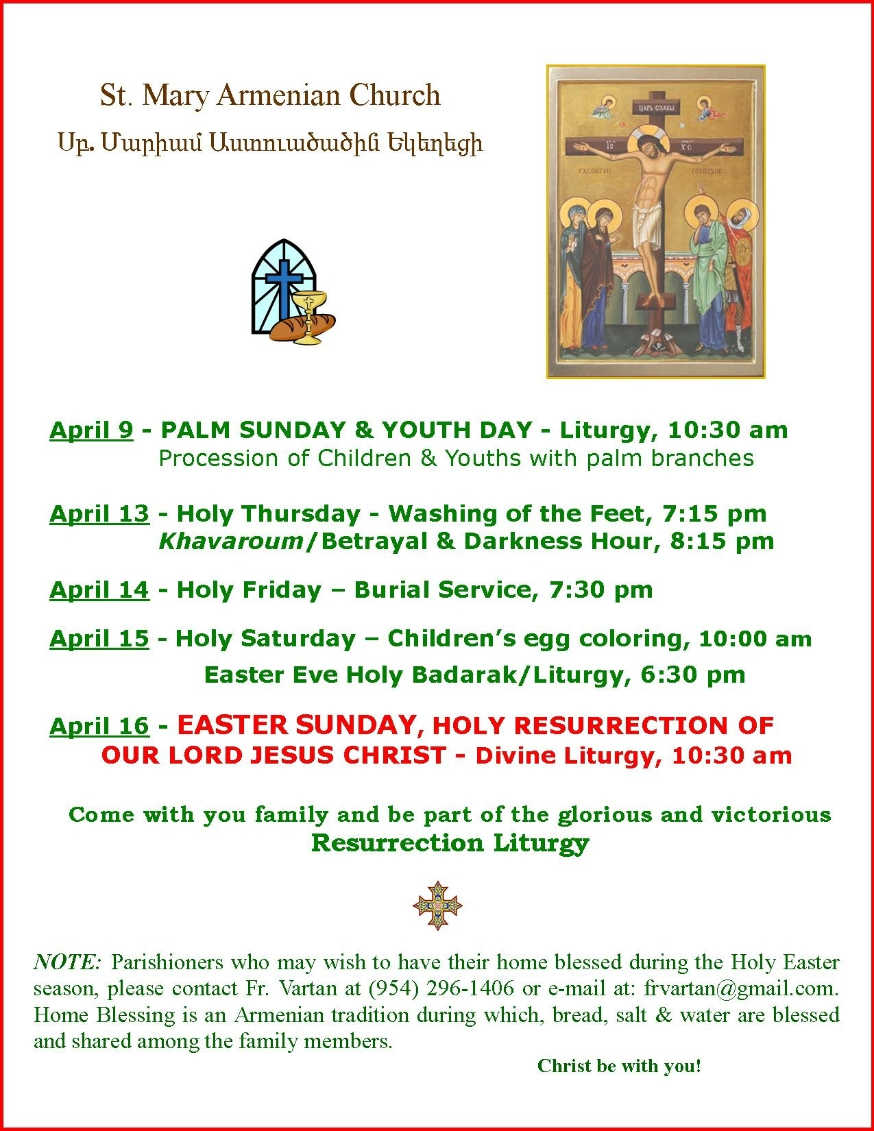 Our Parish  Calendar Of Feast Days And Holy Days Of The Armenian Church