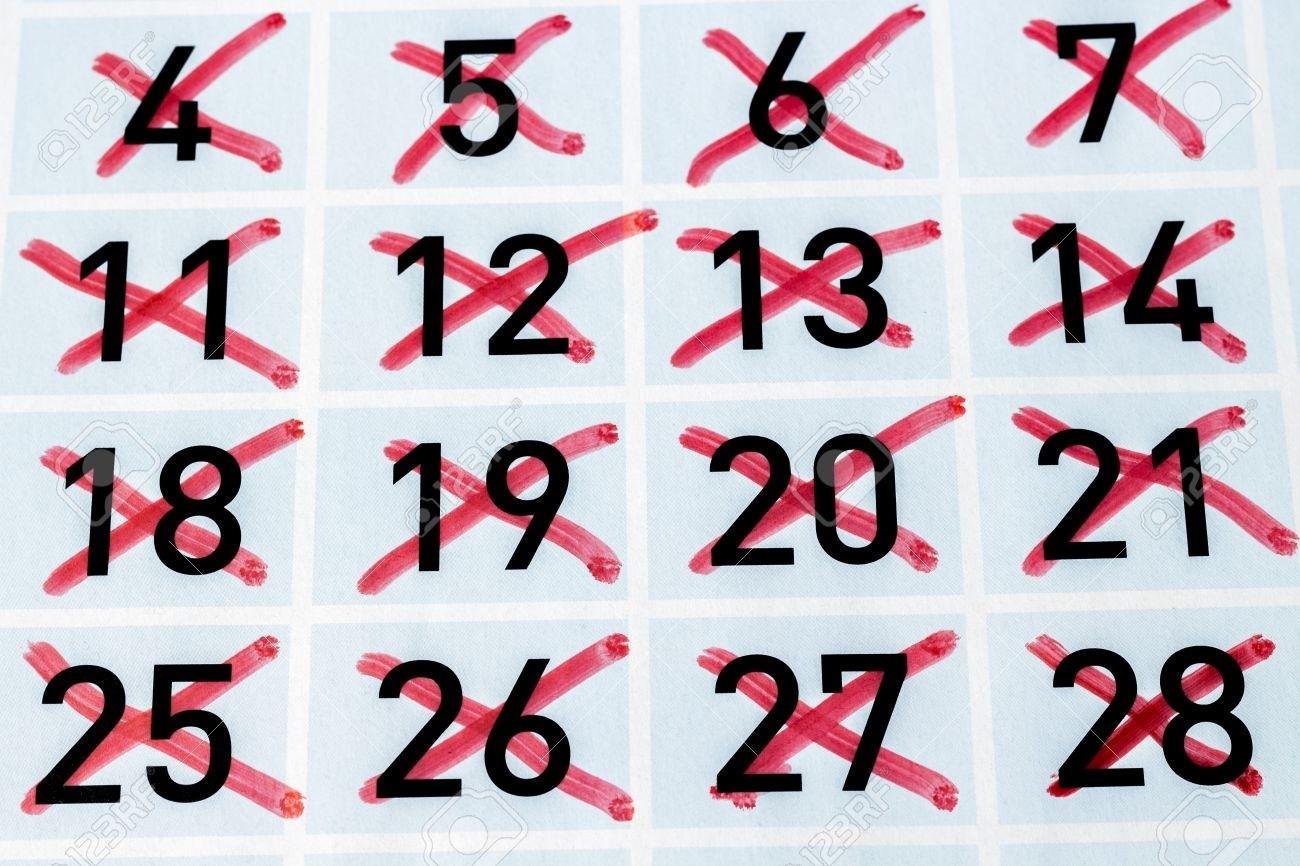 Página De Calendario Con Todos Los Días De Tachado Fotos, Retratos  Imagen De Tachar Dias En Almanaque