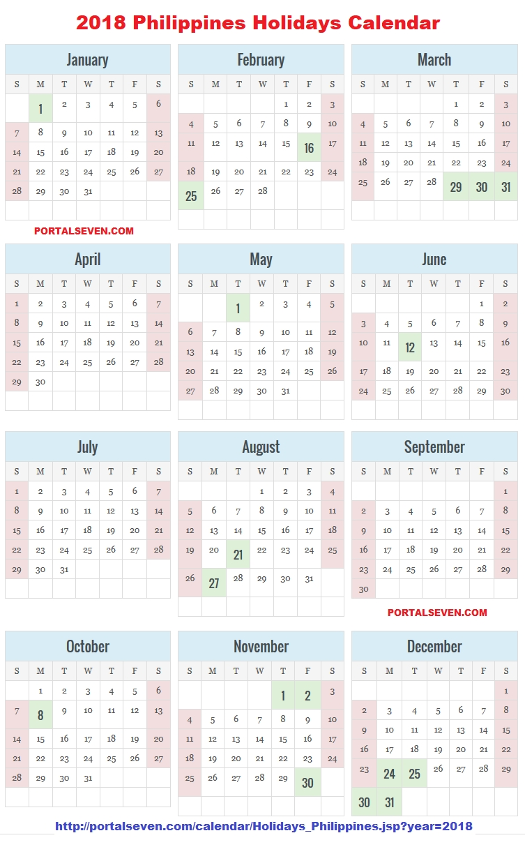Philippines 2018 Calendar | Filipino Holidays 2018  Islamic Calendar For The Philippines