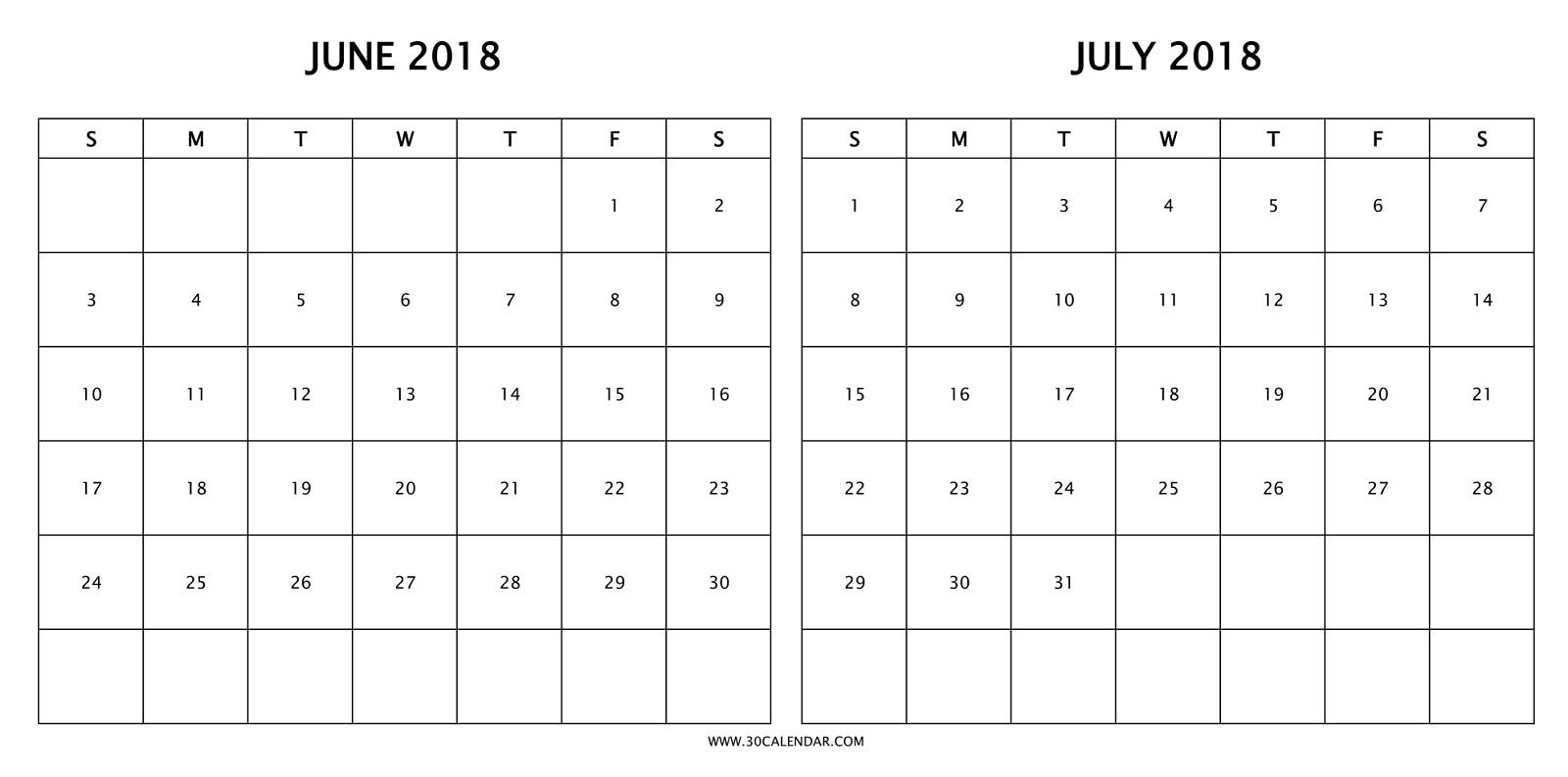 Print Free Two Month Calendar 2018 June July With Holidays | 2018  Print Month Of June And July