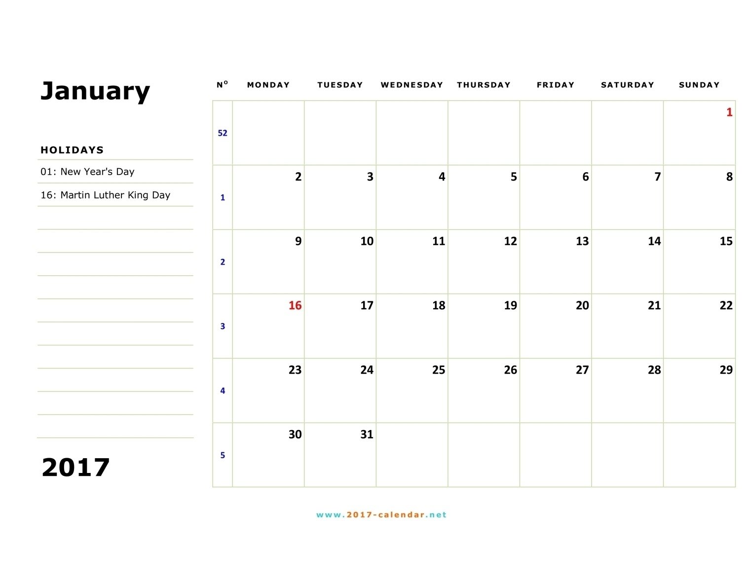 Printable 2017 Calendar  Blank Monthly Calendar Monday Start