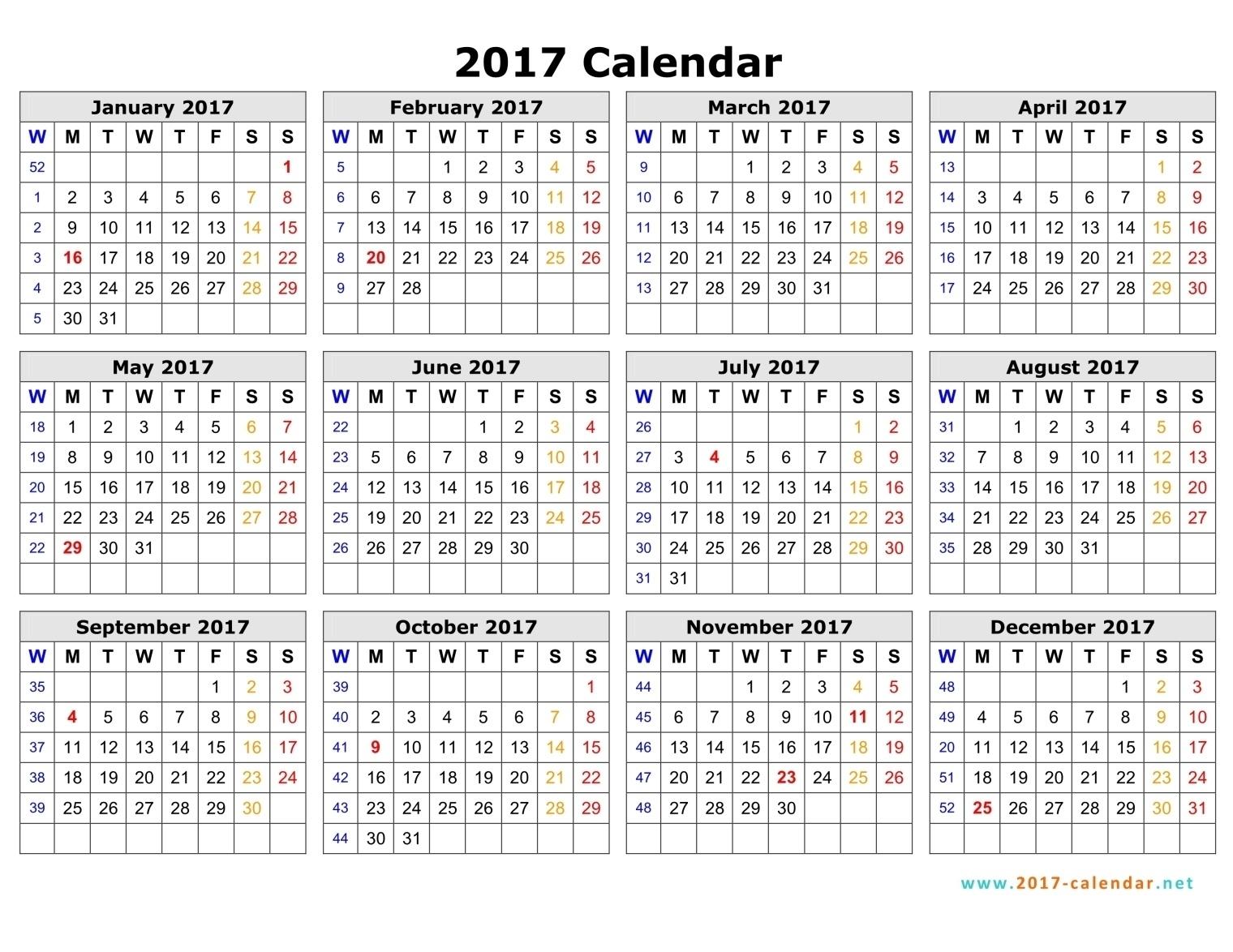 Printable 2017 Calendar  Weekly Calandar Template Starting Monday