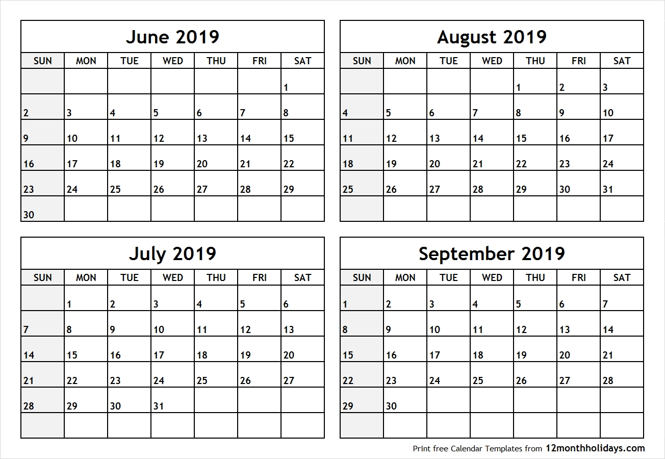 Printable Blank Four Month June July August September 2019 Calendar  June And July Calendar Month