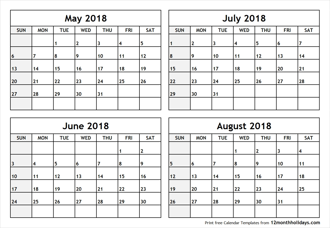 Printable Blank Four Month May June July August 2018 Calendar Template  Blank Four Month Calendar Template