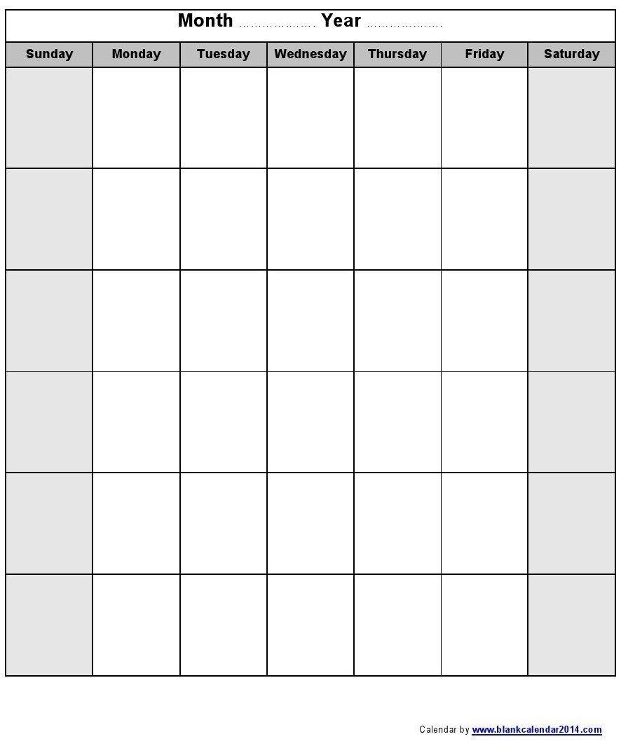 Printable Blank Monthly Calendar Blank Monthly Calendar 2016 | Blank  Fill In Monthly Calendar Printable