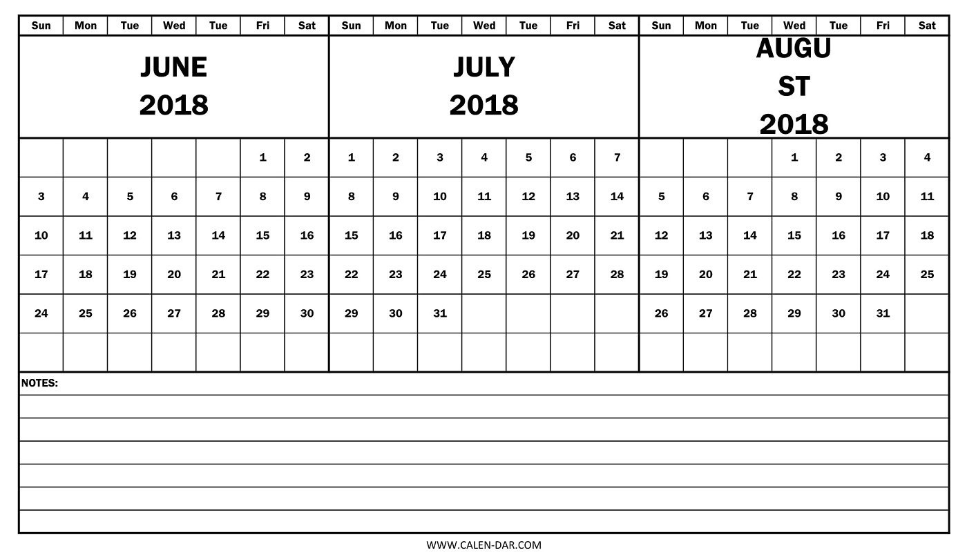 Printable Calendar 2018 June July August - Yeniscale.co  Print Month Of June And July