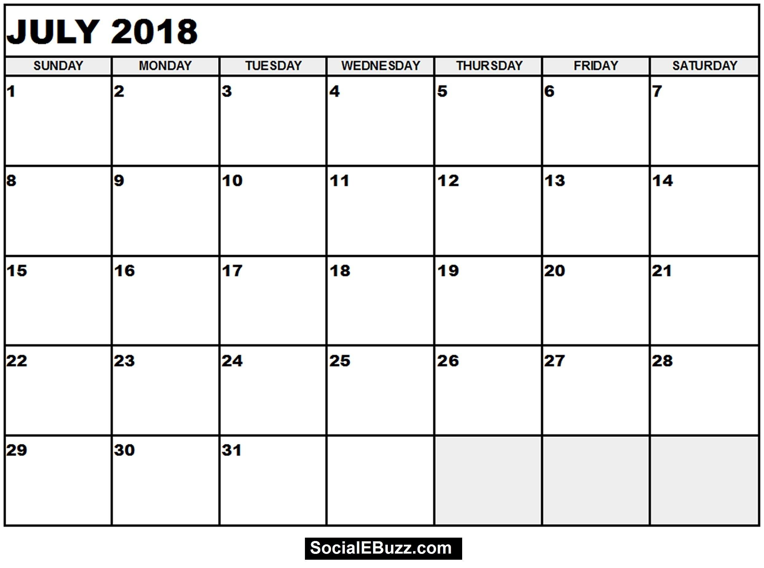 Printable Calendar June 2018 Monthly Template - Free June 2018  June And July Calendar Printable