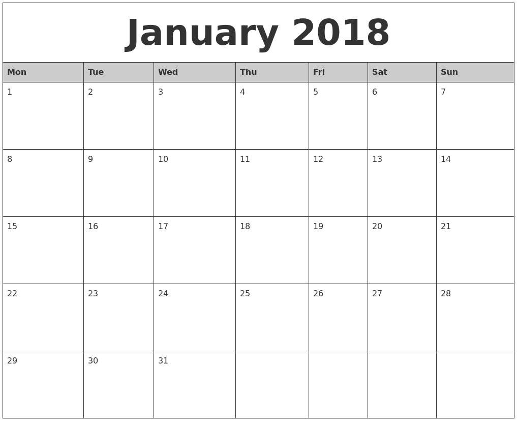 Printable Calendar Months 2018 - Yeniscale.co  Blank Calendar For A Month