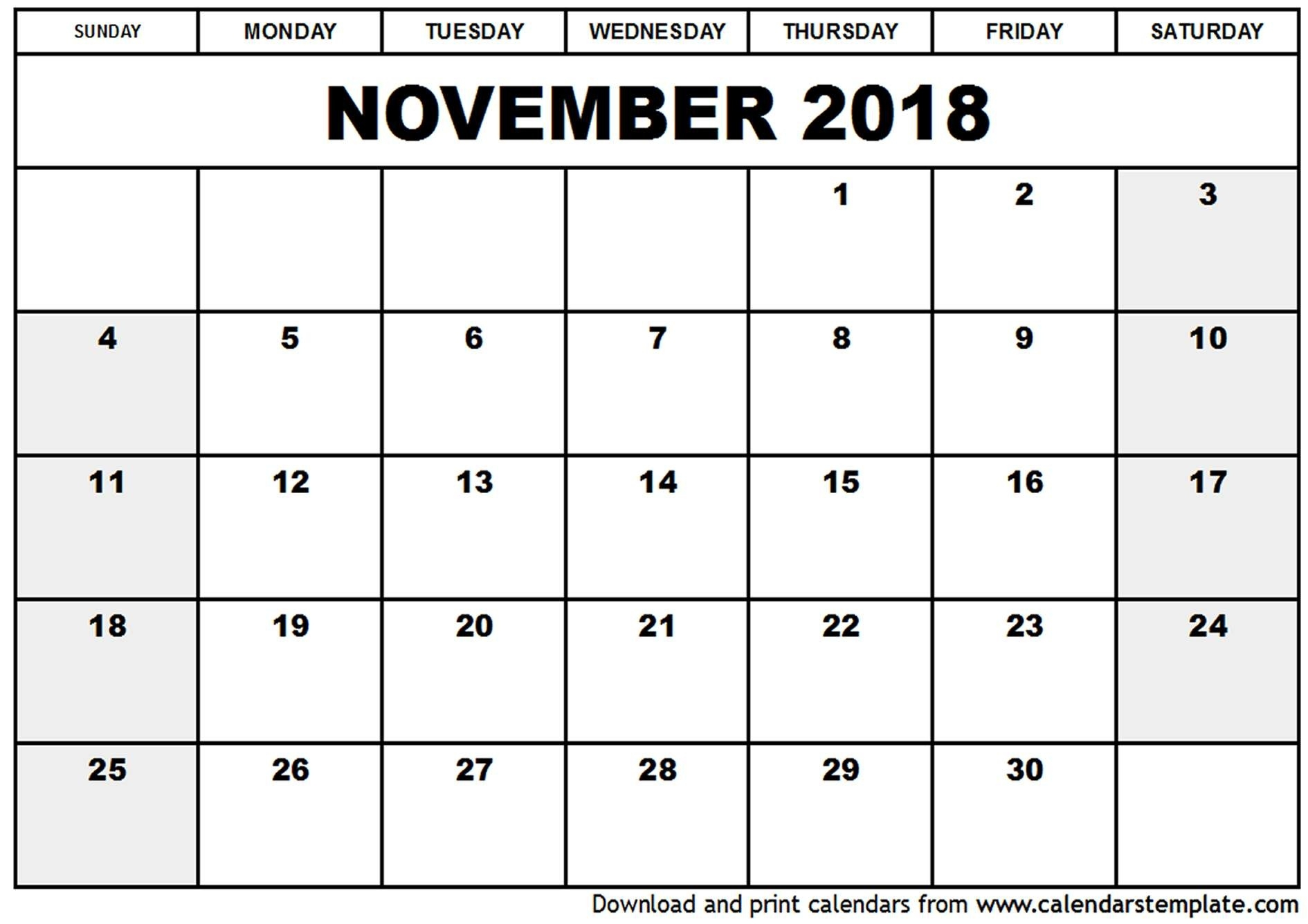 Printable Calendar November 2018 - Yeniscale.co  Print Calendar Month Of September