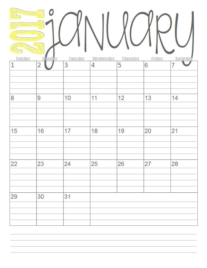 Printable Calendar With Lines - Yeniscale.co  Need A Blank Calendar With Lines