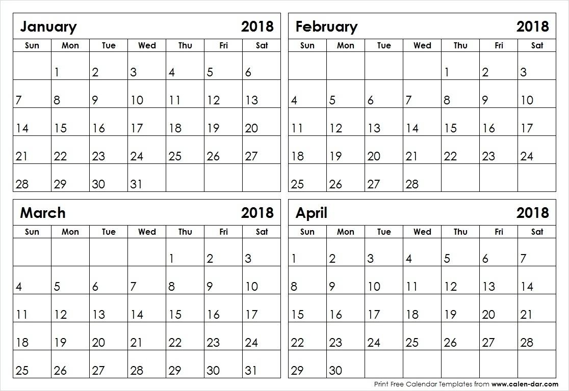 Printable Four Month Calendar 2018 | Seven Photo  Blank Four Month Calendar Template