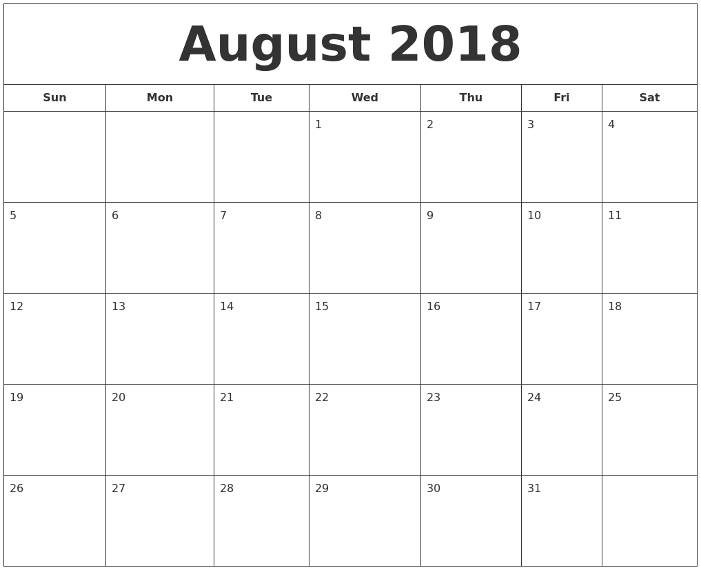 Printable July And August 2018 Calendar - Yeniscale.co  Printable July Through August Calendars