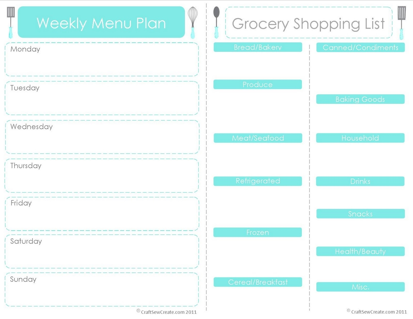 Printable Menu Planner With Grocery List - Yeniscale.co  Blank Shopping List Template A4 Editable