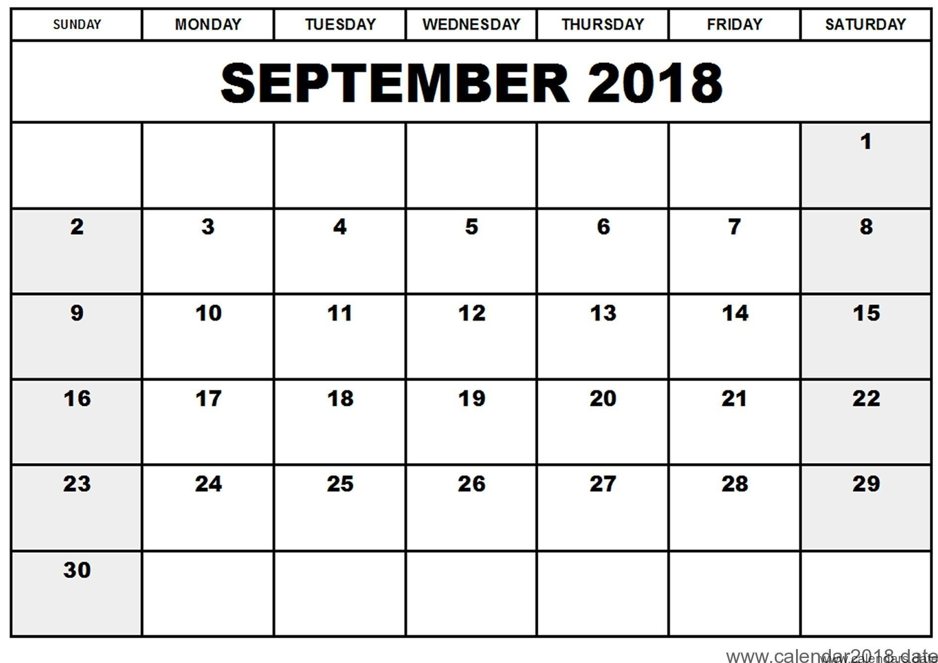 Printable September 2018 Calendar Template | Business Template Ideas  Print Calendar Month Of September