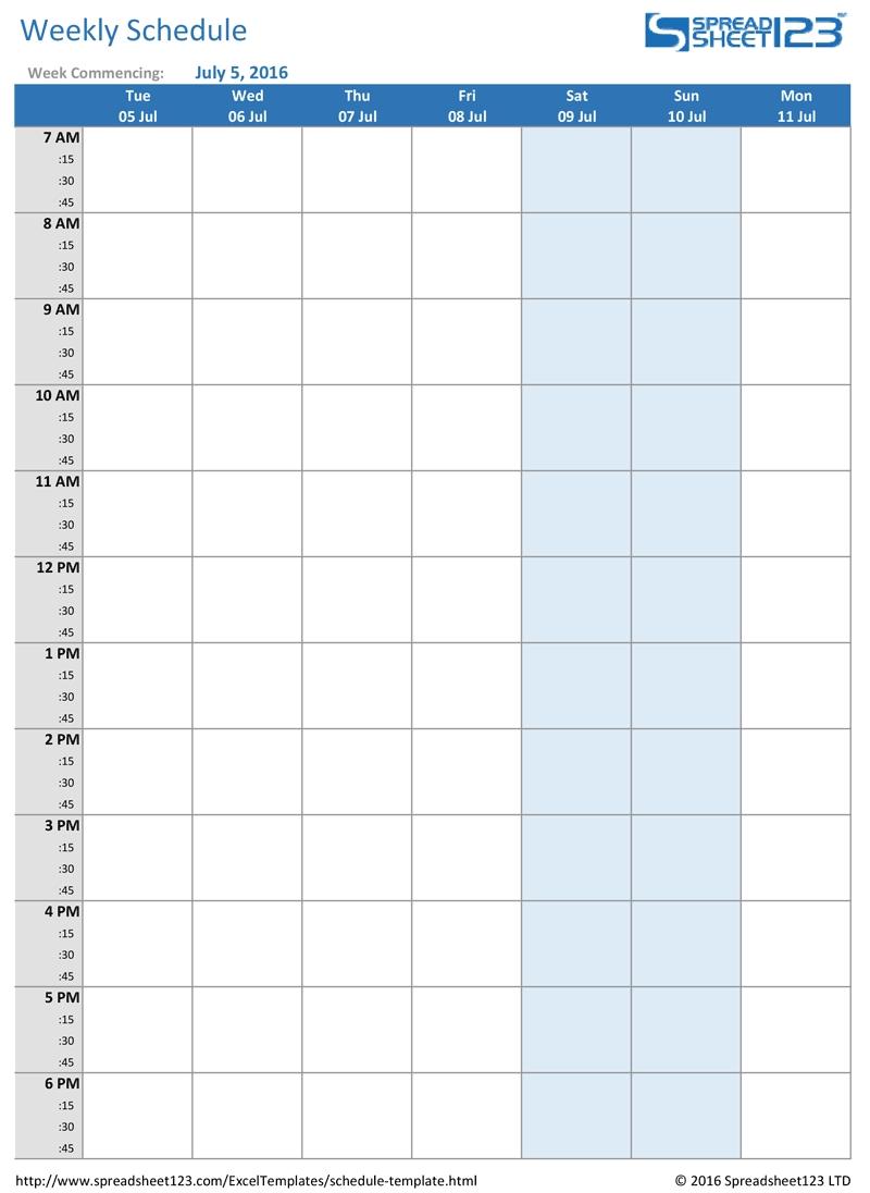 Printable Weekly And Biweekly Schedule Templates For Excel  Printable Pick Up Schedule Template