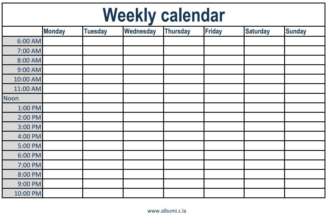 Printable Weekly Calendar With Time Slots - Yeniscale.co  Weekly Calendar Time Slots Printable