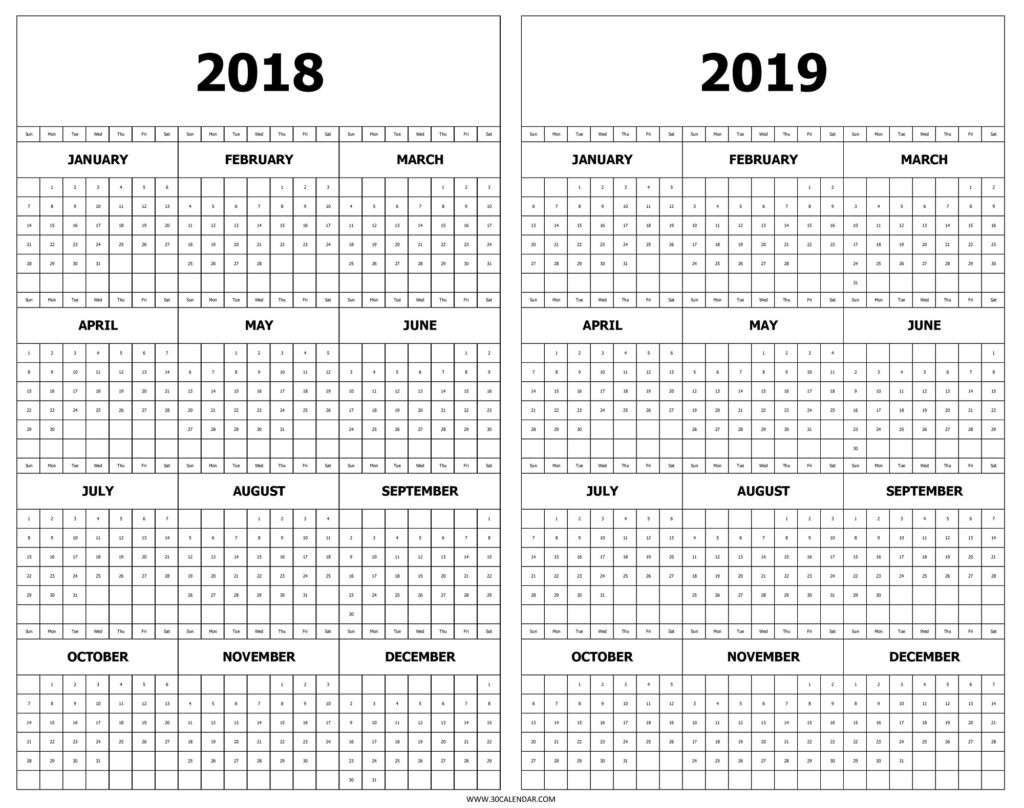 Printable Year At A Glance Calendar 2019 | Printable Calendar  Year At A Glance Printable Template