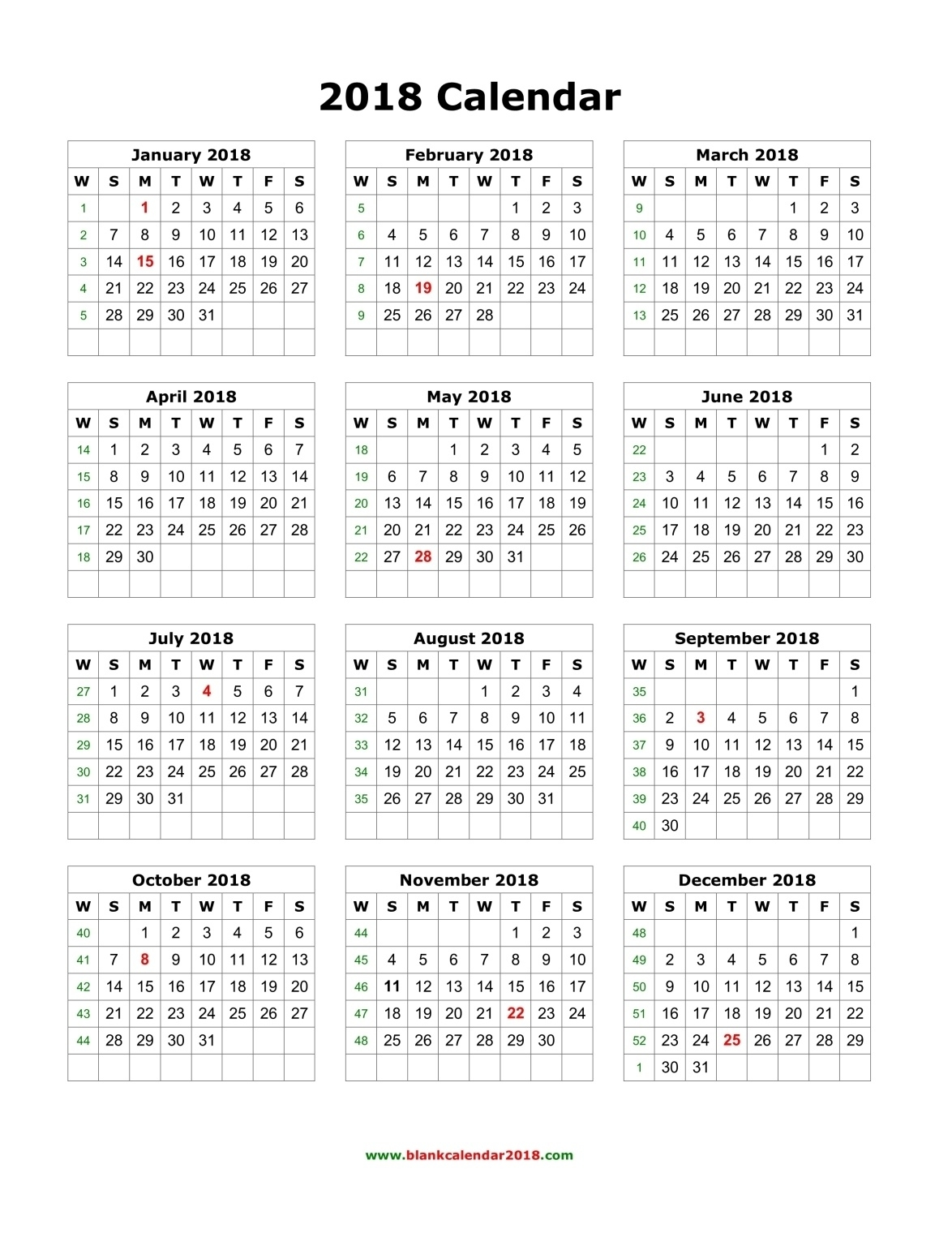 Printable Yearly Calendar 2018 - Yeniscale.co  Free Printable Calendar Year At A Glance Calendar