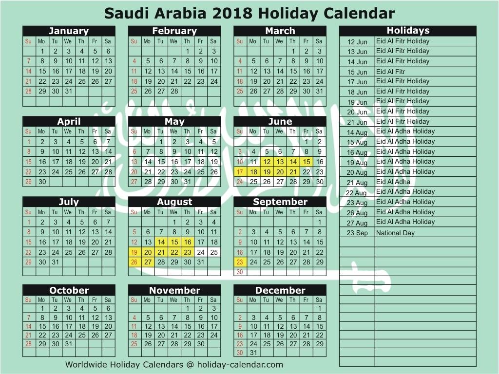 Ramadan 2018 Saudi Arabia Date | Calendar Template Printable  Ramadan Calendar Of Saudi Areabia